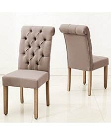 AC Pacific Natalie Roll Top Tufted Linen Fabric Modern Dining Chair, Set of 2