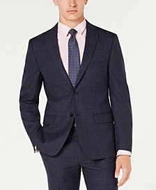 Men's Classic-Fit UltraFlex Stretch Navy Blue Plaid Suit Jacket