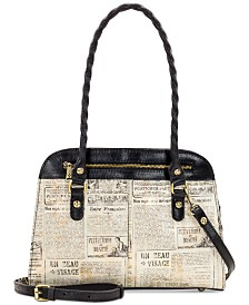 Patricia Nash Calvi Newspaper Print Satchel