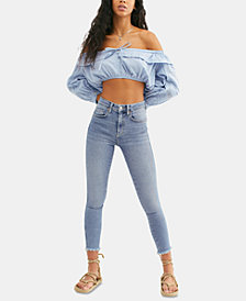Free People Frayed-Hem Skinny Ankle Jeans
