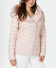 Asymmetrical Hooded Packable Puffer Coat