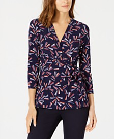 Anne Klein Abstract-Print Wrap Top