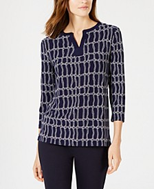 Three-Quarter-Sleeve Rope-Print Top