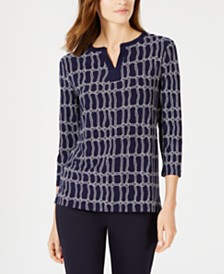Anne Klein Three-Quarter-Sleeve Rope-Print Top