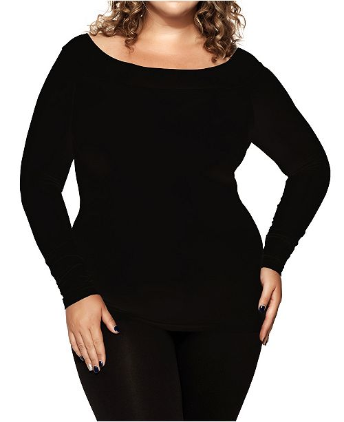 skinnytees Plus Long Sleeve Boatneck