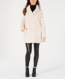 Chevron Faux-Fur Coat