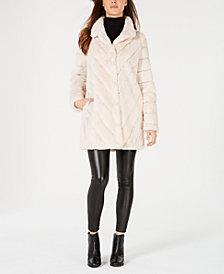 Calvin Klein Chevron Faux-Fur Coat