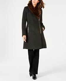 I.N.C. Faux-Fur-Trim Asymmetrical Walker Coat, Created for Macy's