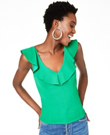 Bar III V-Neck Ruffled Top, Created for Macy's