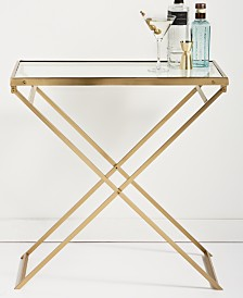 Hotel Collection Gold Folding Bar Cart, Created for Macy's