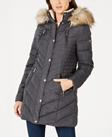 Laundry By Shelli Segal Faux-Fur Trim Hooded Puffer Coat