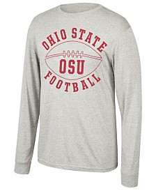 J America Men's Ohio State Buckeyes Tri-Blend Football Long Sleeve T-Shirt