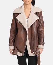 Faux-Shearling Moto Jacket