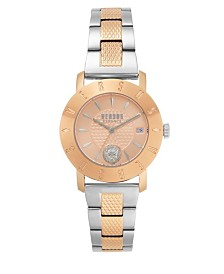 Versus Women's Two Tone Silver/Rose Gold Stainless Steel Bracelet Watch 18mm