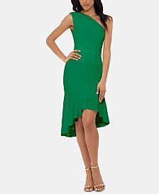 XSCAPE One-Shoulder Flounce-Hem Dress