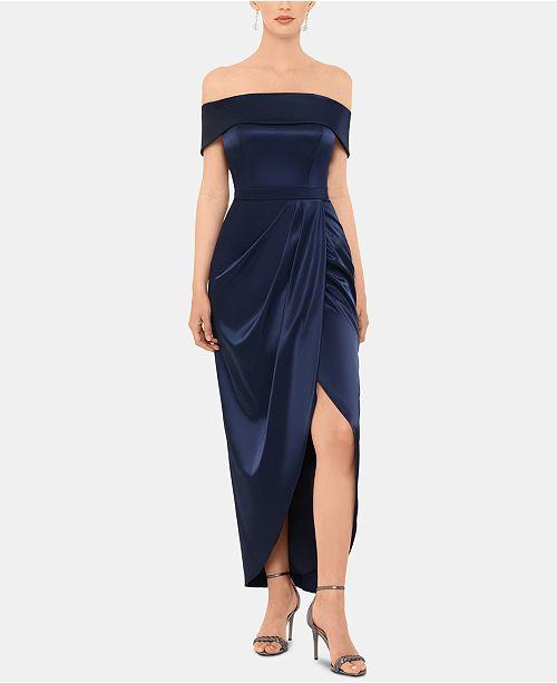 XSCAPE Off-The-Shoulder Satin Dress