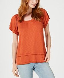 Style & Co Tiered Flutter-Sleeve Top, Created for Macy's