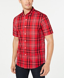 Club Room Men's Stretch Moisture-Wicking Plaid Shirt, Created for Macy's