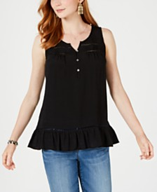 Style & Co Ruffle-Hem Open-Trim Top, Created for Macy's