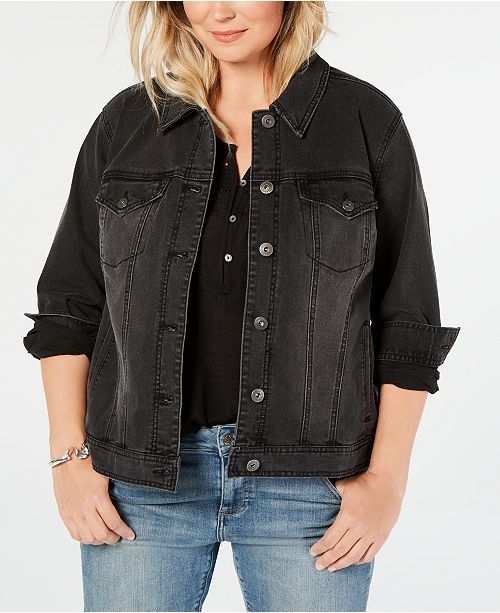 Style & Co Plus Size Denim Trucker Jacket, Created for Macy's