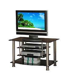 Metal And Glass TV Stand with 4 Shelves