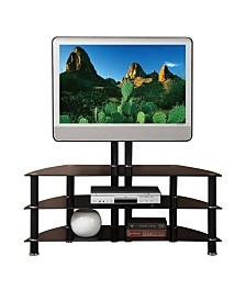 Metal And Glass TV Stand with Adjustable Height And 3 Shelves