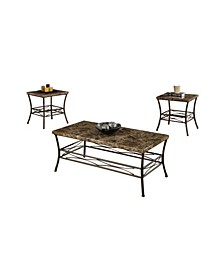 Faux Marble Top 3 Pieces Coffee End Table Set