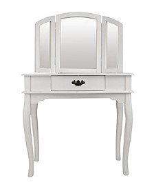 Wooden Vanity Set Featuring Stool And Mirror