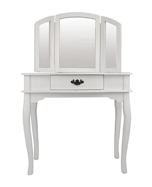 Benzara Wooden Vanity Set Featuring Stool And Mirror