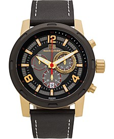 Baracchi Men's Chronograph Watch Black Leather Strap, White Stitching, Black/Grey Dial, Gold Case, 46mm