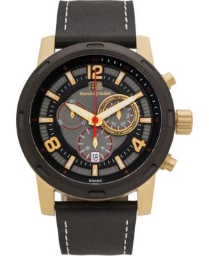 Baracchi Men's Chronograph Watch Black Leather Strap