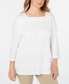 Karen Scott Plus Size Cotton Crochet-Trim Top, Created for Macy's