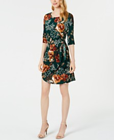 Robbie Bee Petite Printed Faux-Wrap Dress