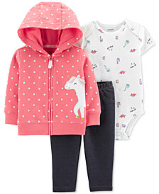 Carter's Baby Girls 3-Pc. Unicorn Hoodie, Bodysuit & Denim Leggings Set