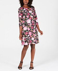 Karen Scott Petite Printed Scoop-Neck Dress, Created for Macy's