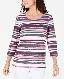 Petite Embellished Striped Top, Created for Macy's