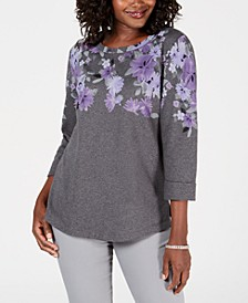 Petite Printed 3/4-Sleeve Sweatshirt, Created for Macy's