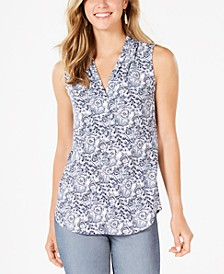 Petite Sleeveless Printed Pleat-Neck Top, Created for Macy's