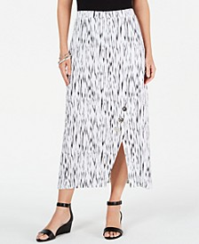 Crinkle Texture Button-Trim Skirt, Created for Macy's