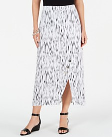 JM Collection Crinkle Texture Button-Trim Skirt, Created for Macy's