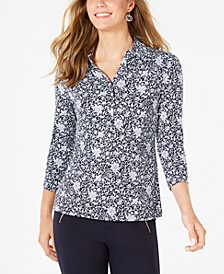 3/4 Sleeve Printed Polo Top, Created For Macy's