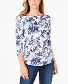 Charter Club Pima Cotton Combo-Print Top, Created for Macy's