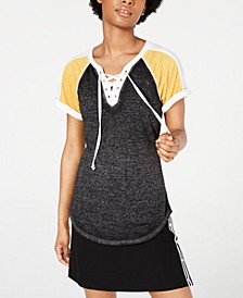 Juniors' Lace-Up Raglan T-Shirt