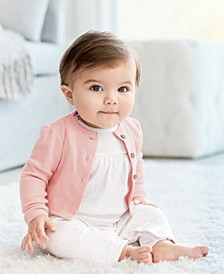 Baby Girls 2-Pc. Cotton Cardigan & Coverall Set