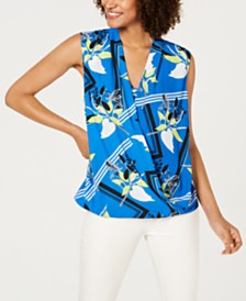 Alfani Surplice-Front Printed Top, Created For Macy's
