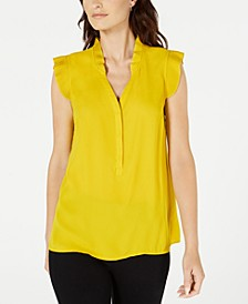Petite Pleated-Trim Top, Created for Macy's