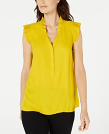Alfani Petite Pleated-Trim Top, Created for Macy's