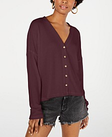 Juniors' Waffle-Knit Button-Front Cardigan