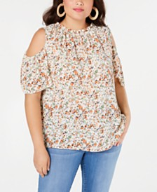Monteau Trendy Plus Size Ruffled Cold-Shoulder Top
