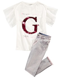GUESS Big Girls Sequin Logo T-Shirt & Stretch Skinny Jeans